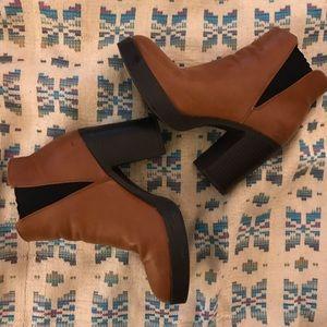 Brown/camel heel booties Forever 21!